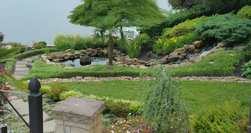 Beautiful Stonework, Pond & Waterfall
