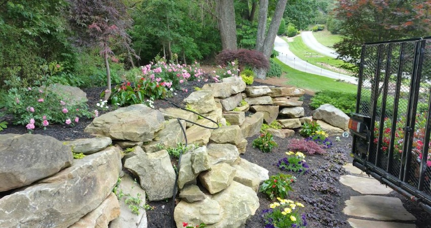 Stone Wall & Beds